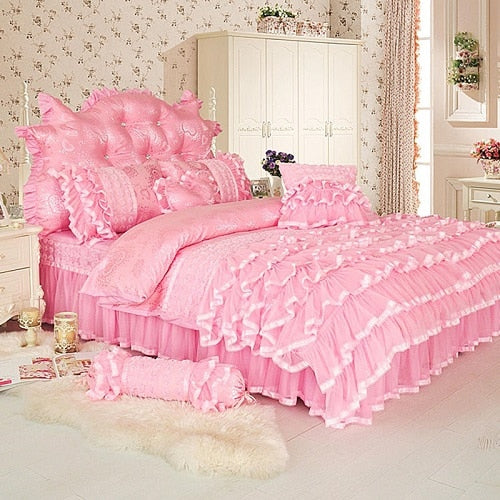 Aaliyah Triple Layered Ruffled Cotton And Lace Duvet Cover And Bed Skirt Set - Venetto Designpink bedding set / Twin size 4Pcs