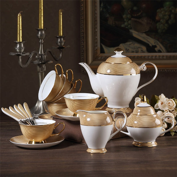 Palladio Luxury Gold Bone China Tea/Coffee Set - Venetto Design