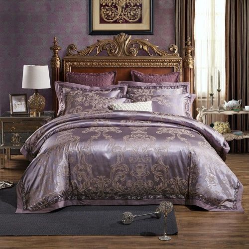 Taha Ornamental Motif Printed Satin Jacquard Duvet Cover Set - Venetto Designbedding set 5 / Queen size 4pcs