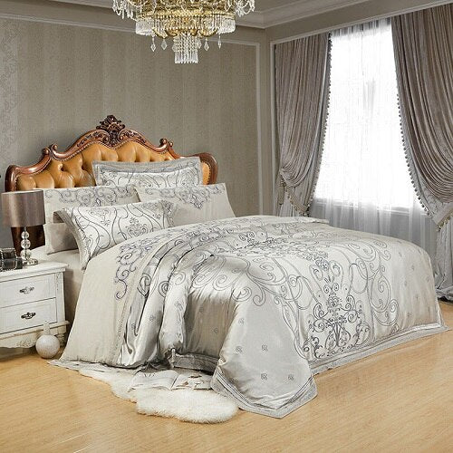Vetora Luxury Silk Jacquard Cotton Duvet Cover Set - Venetto Design4 / King 4Pcs
