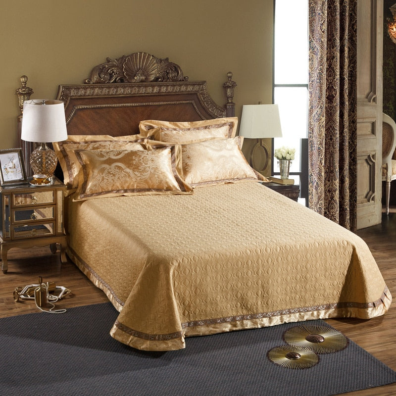 Taha Ornamental Motif Printed Satin Jacquard Duvet Cover Set - Venetto Design