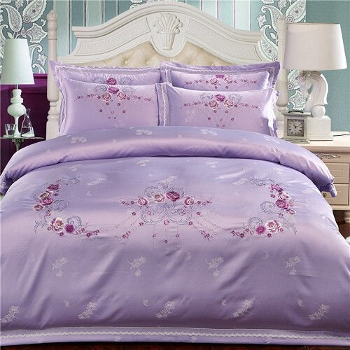 Milessa Silver Cotton Chinese Embroidery Duvet Cover Sets - Venetto Design7 / King size 4pcs