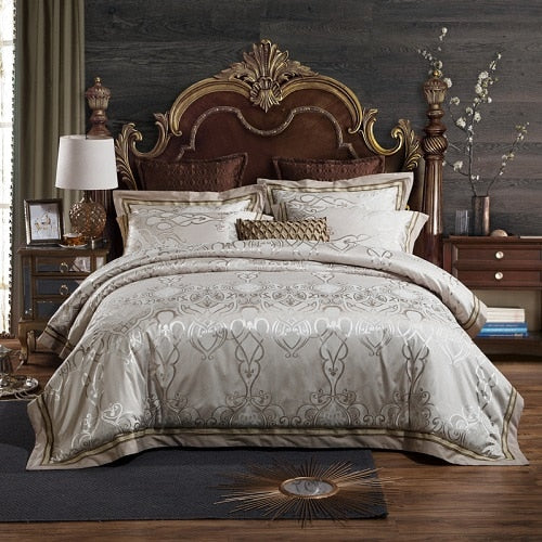 Taha Ornamental Motif Printed Satin Jacquard Duvet Cover Set - Venetto Designbedding set 8 / Queen size 4pcs