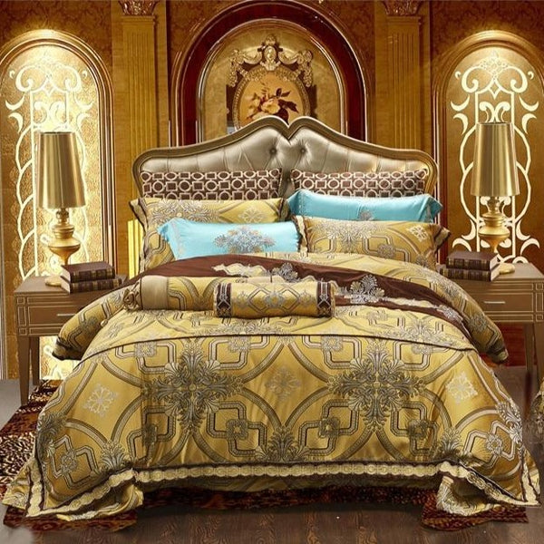 Muskat Two-Tone Embroidered Satin Duvet Cover Set - Venetto DesignQueen size 10Pcs