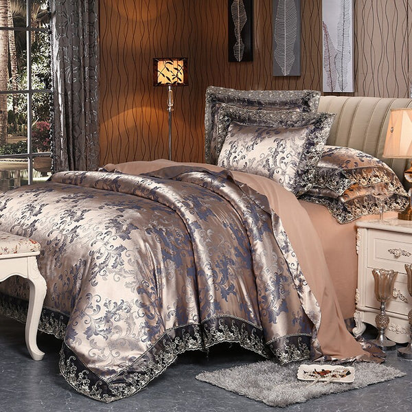 Fateena Silver Brown Luxury Satin Cotton Lace Duvet Cover Set - Venetto Design11 / King 4pcs