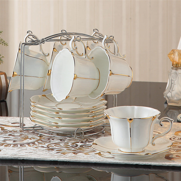 Vittoria British Gold Pearl Bone China Tea/Coffee Set - Venetto Design6Cups n Holder
