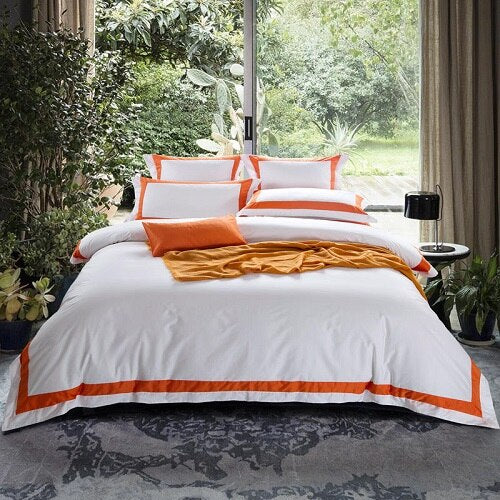 Nalva Luxury White 100%Cotton Duvet Cover Set - Venetto Design11 / King size 4pcs / Fitted sheet style