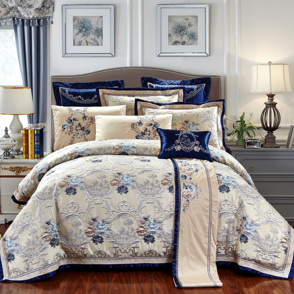 Gazaneya Oriental Jacquard Luxury Duvet Cover Set - Venetto DesignBlue / King / 10 pieces