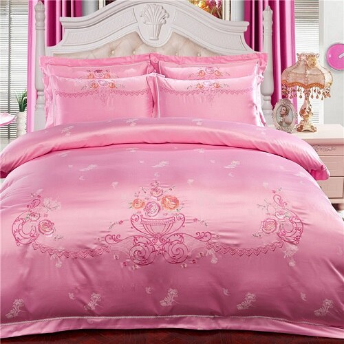 Milessa Silver Cotton Chinese Embroidery Duvet Cover Sets - Venetto Design5 / King size 4pcs