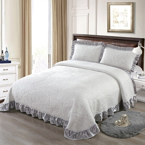 Aabirah Wide Ruffled Edge 100% Cotton Bedspread Set - Venetto Design1 / 230X250 cm 3pcs
