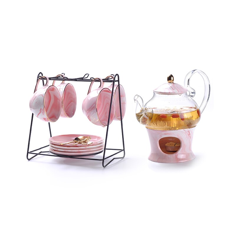 Rimiero Marbling Porcelain Tea/Coffee Set with Candle Warmer - Venetto DesignPink 4 Cups & HolderPot