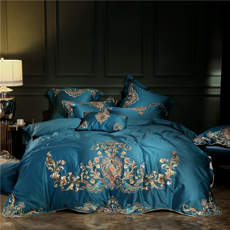 Umeyra Luxury Oriental Embroidery Egyptian Cotton Royal Duvet Cover Set - Venetto DesignColor 2 / King size 4pcs