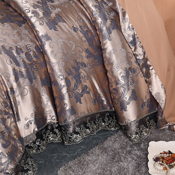 Fateena Silver Brown Luxury Satin Cotton Lace Duvet Cover Set - Venetto Design