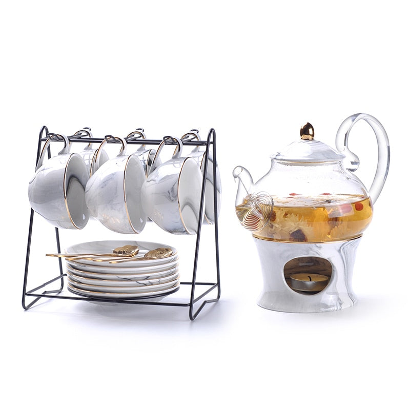 Rimiero Marbling Porcelain Tea/Coffee Set with Candle Warmer