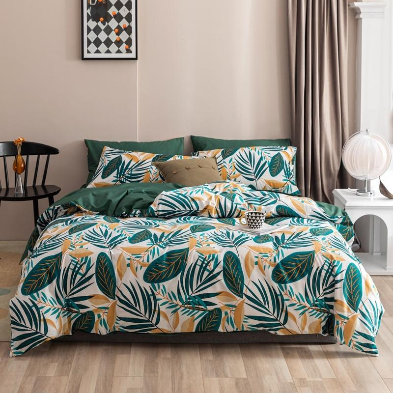 Maria Contemporary Botanical Printed 100% Cotton Duvet Cover Set - Venetto DesignColor 6 / Queen size 4Pcs
