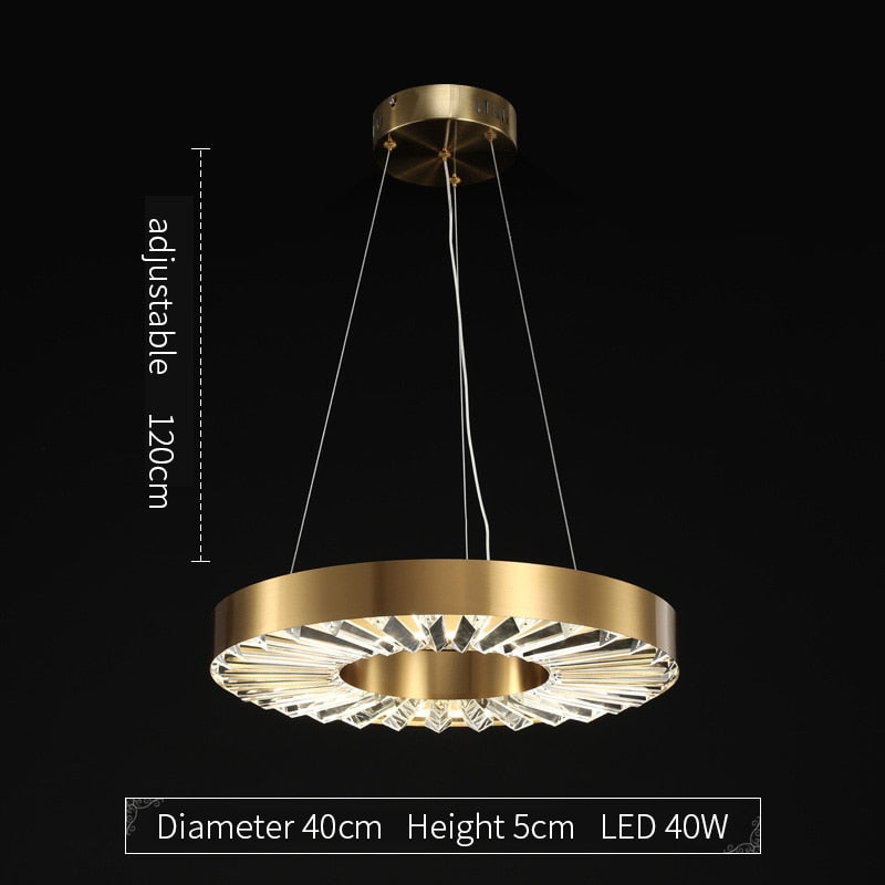 Kara Minimalist Metal And Glass Ring Chandelier - Venetto DesignDiameter 40cm / Dimmable With Remote