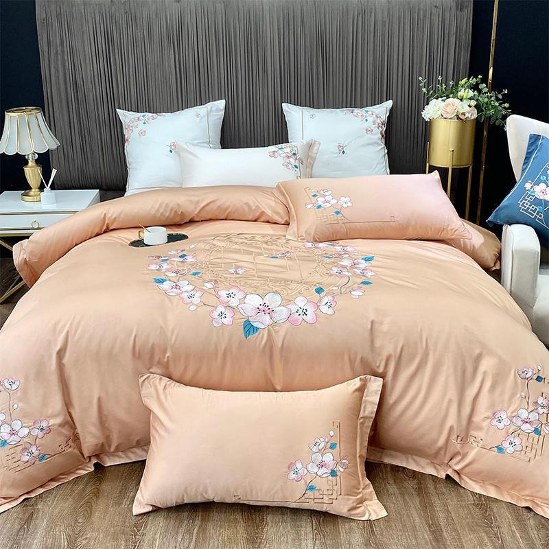 Nina Rounded Floral Motif 100% Egyptian Cotton Duvet Cover Set - Venetto DesignColor 4 / Flat Bed Sheet / Queen size 4Pcs