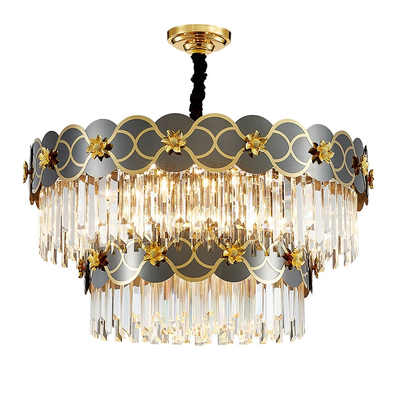 Pietro 3D-Floral Scalloped Edge Two-Tier Crystal Chandelier - Venetto Design