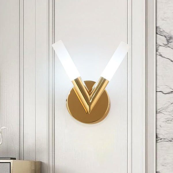 Illona Glass And Metal V-Shape Wall Lamp - Venetto Design