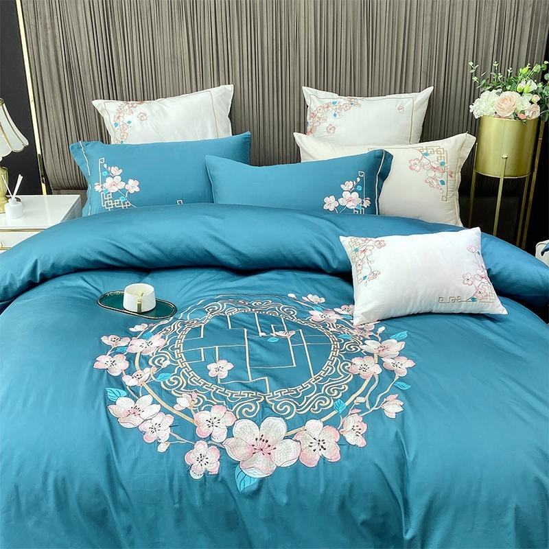 Nina Rounded Floral Motif 100% Egyptian Cotton Duvet Cover Set - Venetto Design