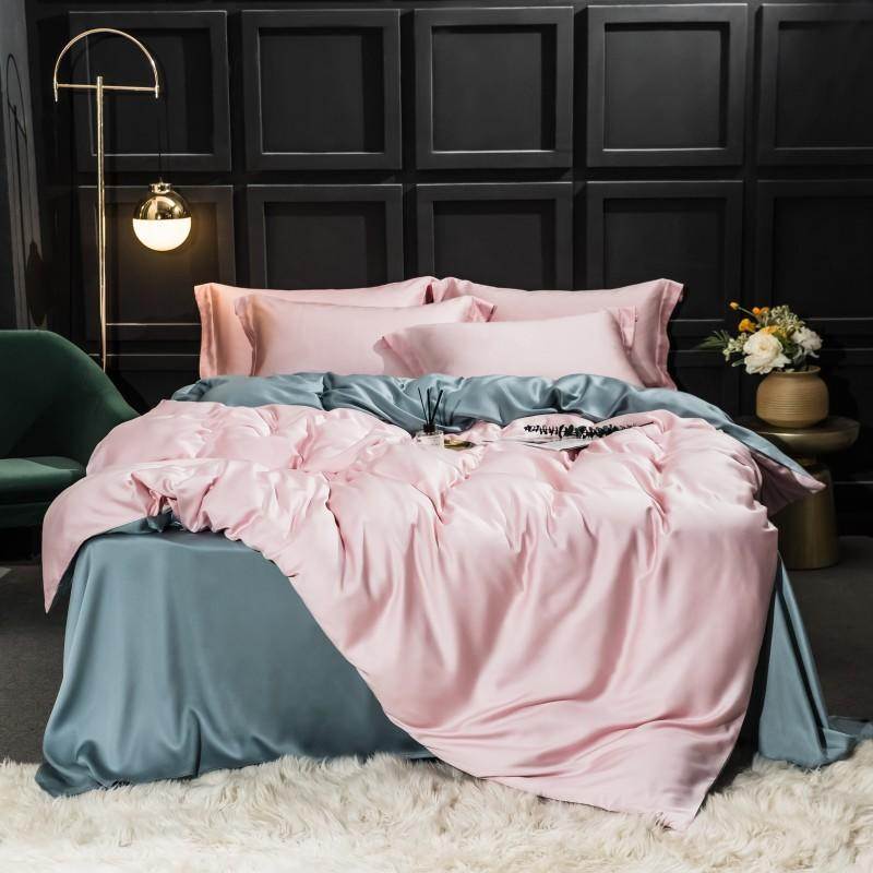 Najam Two-Tone 100% Lyocell Tencel Duvet Cover Set - Venetto Design007 / King 4pcs
