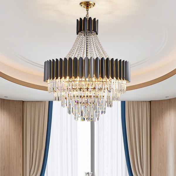 Logan Modern Stainless Steel Tiered Crystal Chandelier - Venetto Design