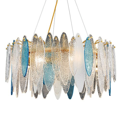 Leslie Frosted Textured Teardrop Glass Ring Chandelier - Venetto Designcolor-2 / Dia60cm / warm light 3000K
