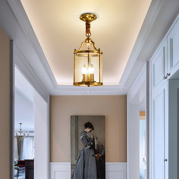 Penelope Polished Copper And Glass Drum Chandelier - Venetto Design