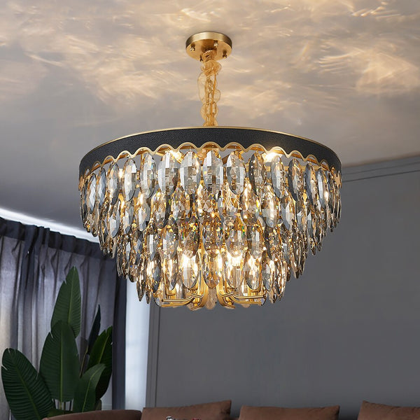 Gabriela Opulent Four-Tiered Teardrop Crystal Chandelier - Venetto Design