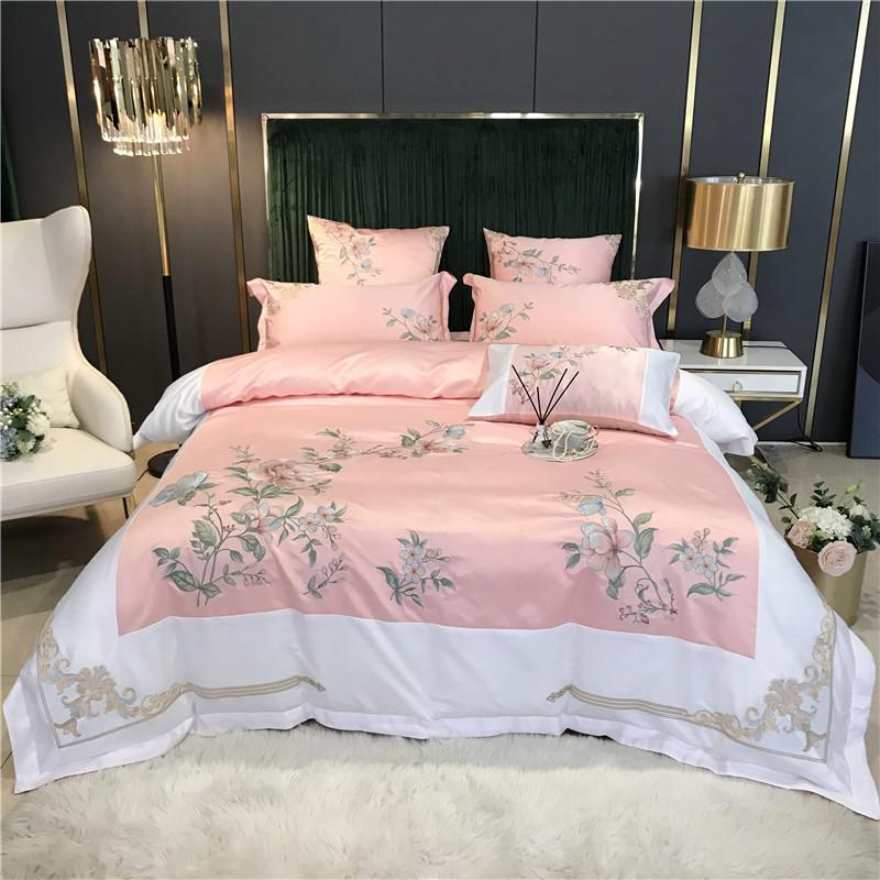 Izabella Floral Embroidered Border Satin And Cotton Duvet Cover Set - Venetto DesignColor 2 / Flat Bed Sheet / Queen size 4Pcs