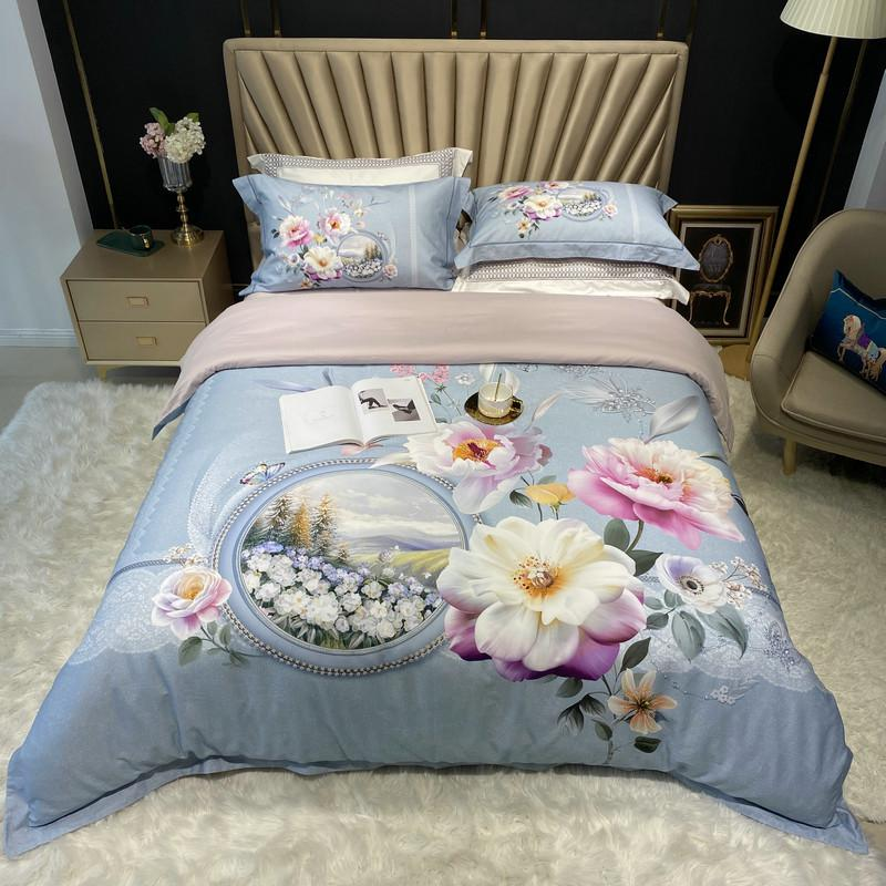 Jennifer Vintage Bouquet Printed Egyptian Cotton Duvet Cover Set - Venetto DesignColor 5 / Queen size 4Pcs