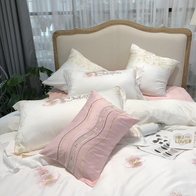 Destiny Floral Bunches Embroidered 100% Egyptian Cotton Duvet Cover Set - Venetto Design