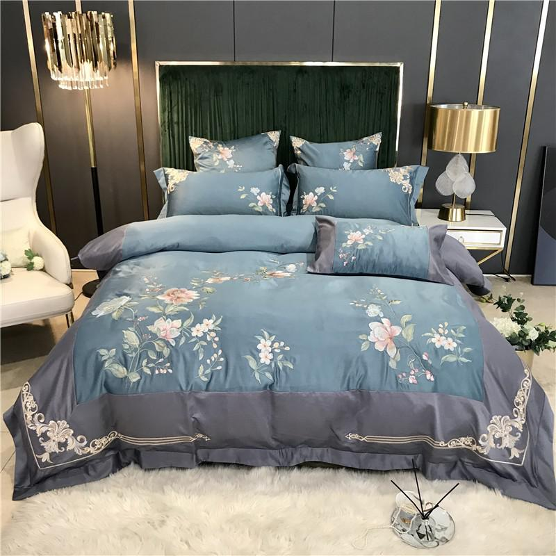 Izabella Floral Embroidered Border Satin And Cotton Duvet Cover Set - Venetto DesignColor 1 / Flat Bed Sheet / Queen size 4Pcs