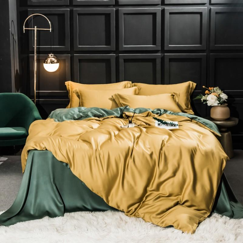 Najam Two-Tone 100% Lyocell Tencel Duvet Cover Set - Venetto Design013 / King 4pcs