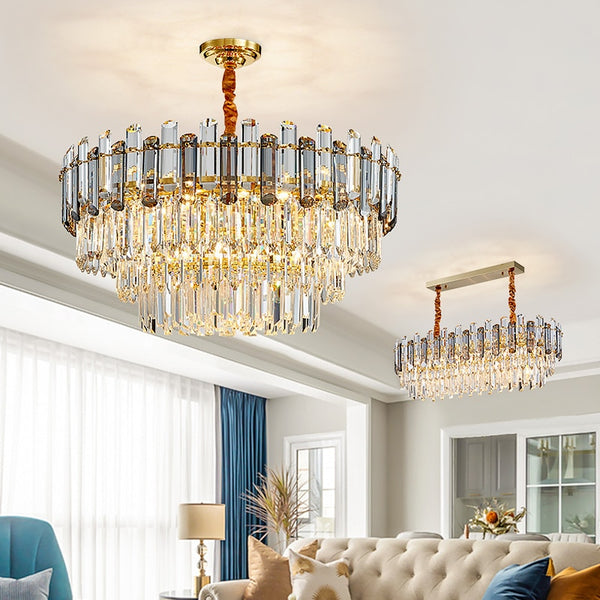 Luis Rounded Three-Tier Crystal Cut Edge Chandelier - Venetto Design