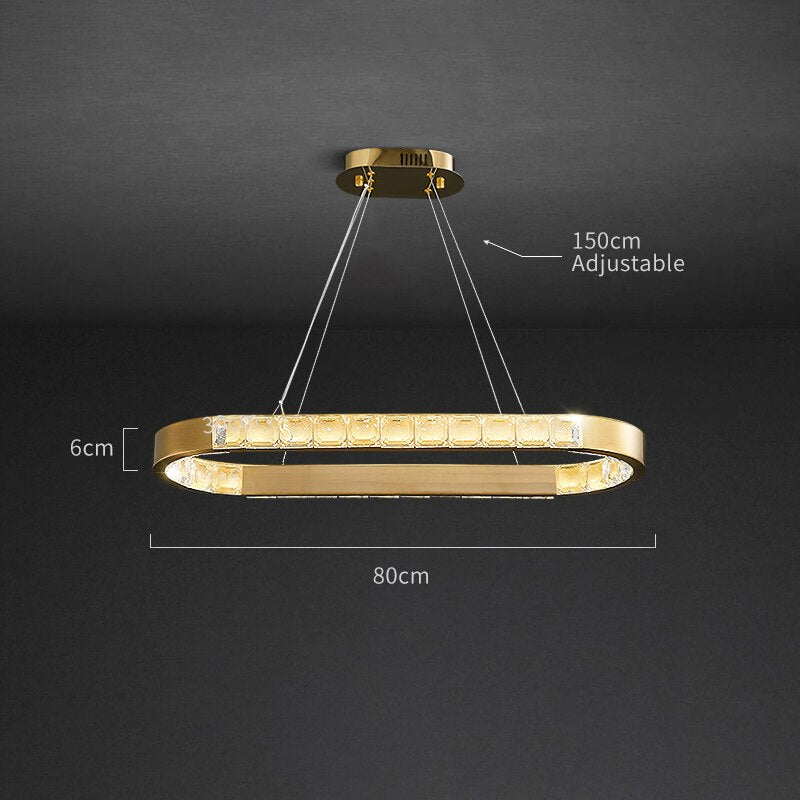 Genesis Wrap-Around Crystal And Metal Rounded Bar Chandelier - Venetto DesignL80cm-A style / Warm light 3000K