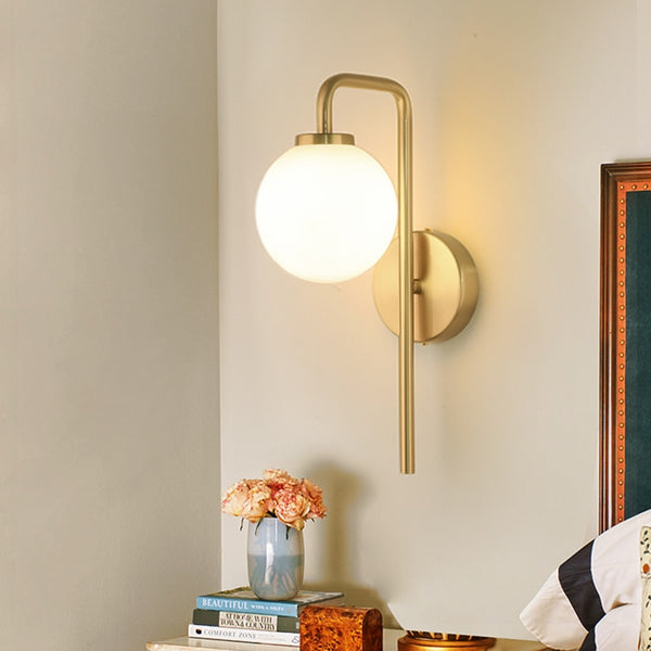 Amavi Metal And Frosted Glass Globe Wall Lamp - Venetto Design
