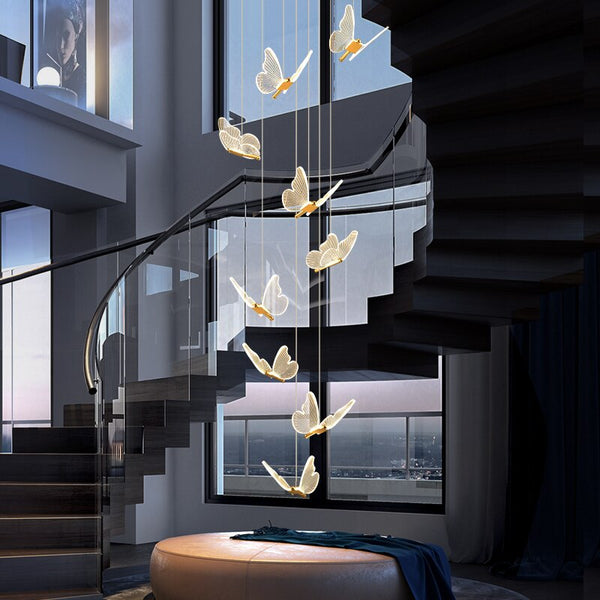 Jenna 3D-Butterfly Spiral Iron And Acrylic Chandelier - Venetto Design