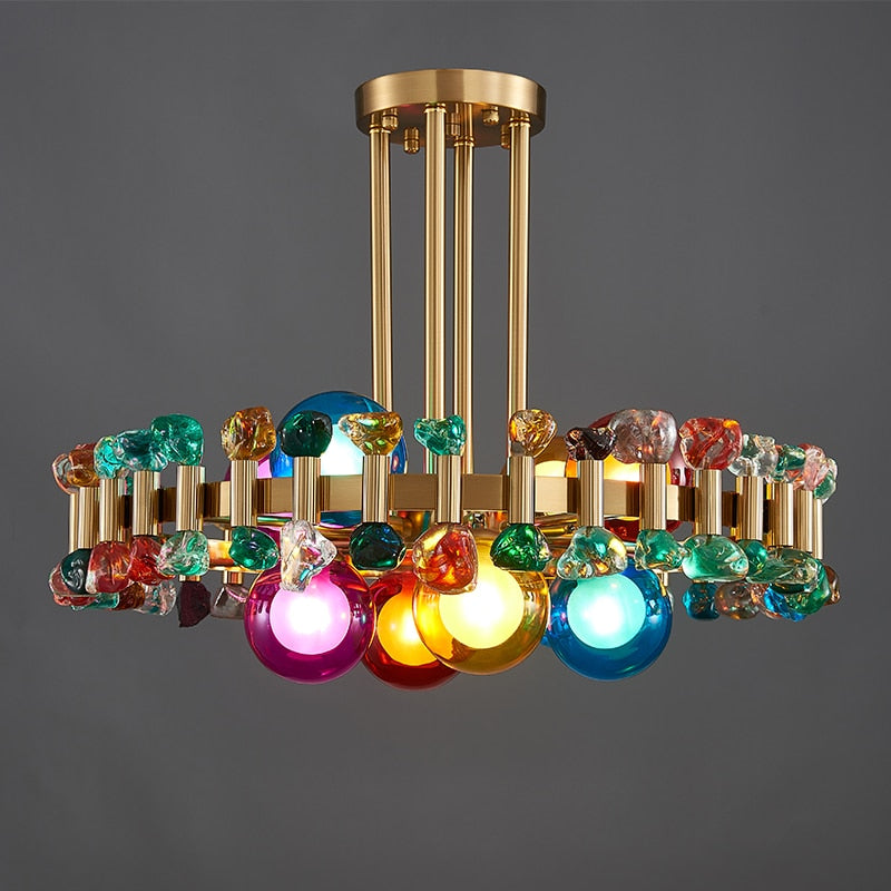 Bailey Colorful Gem And Crystal Two Tier Round Chandelier - Venetto DesignColorful crystal / Dia45xH20cm / Warm white light