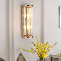 Harper Rounded Crystal And Metal Bar Wall Lamp - Venetto DesignDia16cm H46cm / Warm White (2700-3500K)