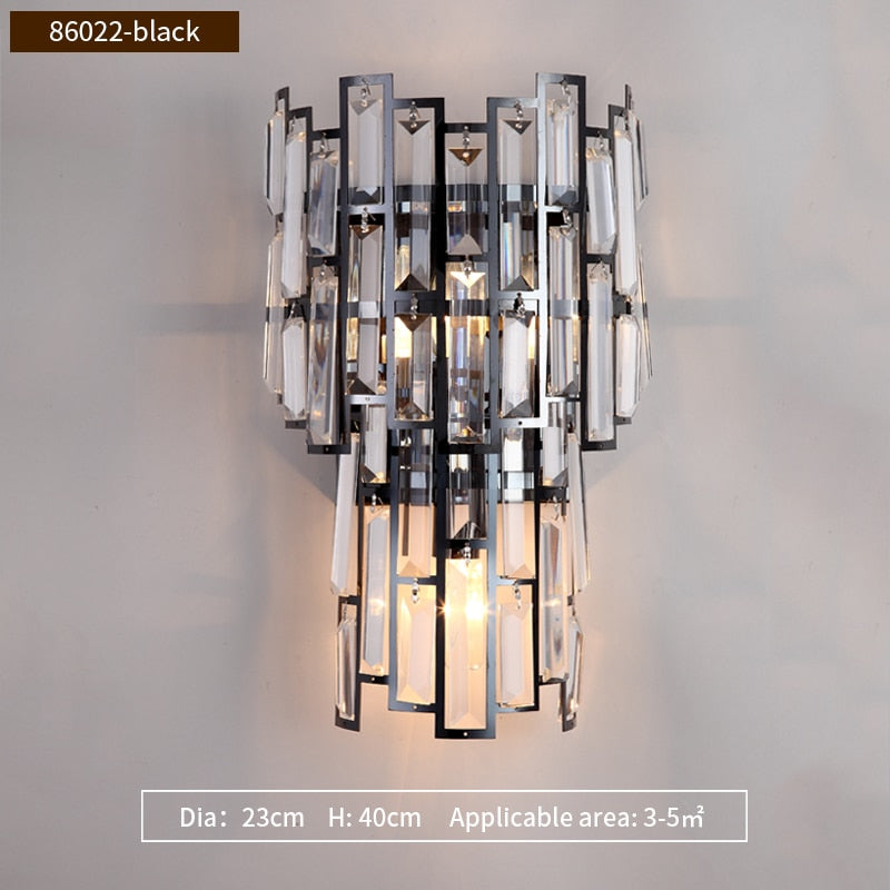 Clare Art Deco Iron And Crystal Wall Lamp - Venetto DesignDia23cm H40cm-Black / Warm White (2700-3500K)