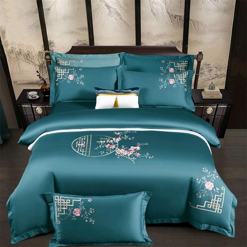 Priscilla Floral Embroidered Egyptian Cotton Duvet Cover Set - Venetto DesignColor 1 / Flat Bed Sheet / Queen size 4Pcs