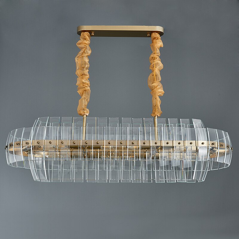 Marissa Curved Smoky Glass And Copper Bar Chandelier - Venetto DesignGold / L105xW30xH35cm / Warm light 3000K