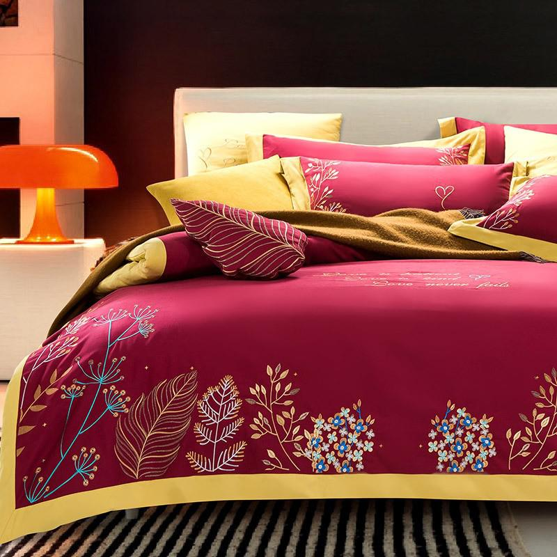 Taylor Floral Embroidered Border Egyptian Cotton Duvet Cover Set - Venetto DesignColor 3 / Flat Bed Sheet / Queen size 4Pcs