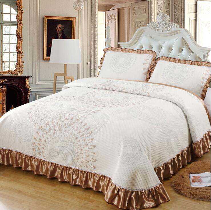 Aabirah Wide Ruffled Edge 100% Cotton Bedspread Set - Venetto Design9 / 230X250 cm 3pcs