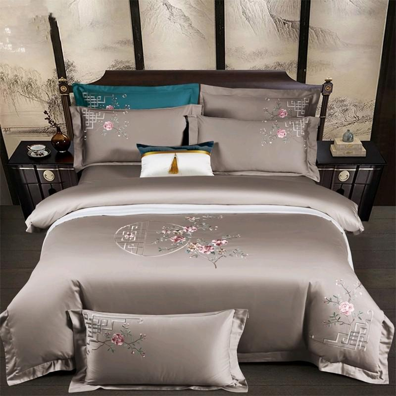 Priscilla Floral Embroidered Egyptian Cotton Duvet Cover Set - Venetto DesignColor 2 / Flat Bed Sheet / Queen size 4Pcs
