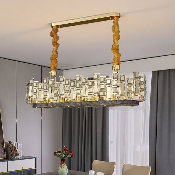 Erin Linear Square And Rounded Cut Crystal Chandelier - Venetto Design