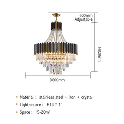 Logan Modern Stainless Steel Tiered Crystal Chandelier - Venetto DesignDia60cm H82cm / Warm light