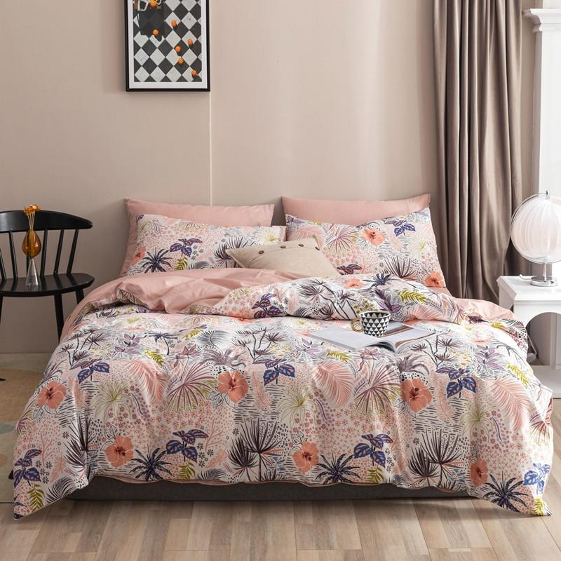 Maria Contemporary Botanical Printed 100% Cotton Duvet Cover Set - Venetto DesignColor 1 / Queen size 4Pcs