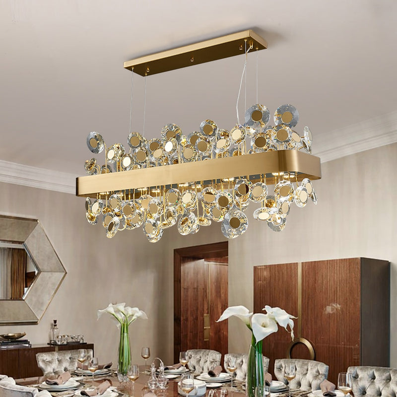 Reese Disc Detailed Crystal And Metal Bar Chandelier - Venetto Design